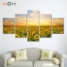 sunflower posters reviews online shopping sunflower posters 5 piece canvas painting poster sunflowers landscape home decor wall art modular pictures hd art modern printing