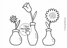 Vase Drawing For Kids And Printable Coloring Pictures Of Flowers In A Vase