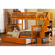 Bunk Beds With Trundle Atlantic Furniture Ab56752 Woodland Twin Over Full Staircase Bunk