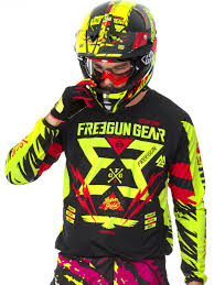 jersey motocross freegun neon yellow red 2017 contact trooper mx jersey freegun
