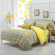 Yellow And Grey Bed Set Yellow Gary With Pair Print S S Bedding Set Duvet