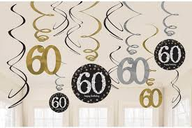 black and gold party decorations 12 x 60th birthday hanging swirls black silver gold party
