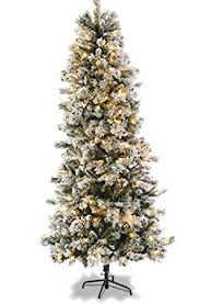 7ft slim flocked spruce pre lit tree co uk