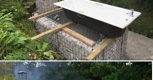 Backyard Ideas Uk Gabion Outdoor Bath Construction Www Gabion1 Co Uk Backyard