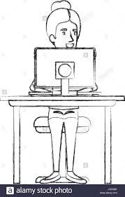 Computer Im Schreibtisch Computer Desktop Silhouette Workplace Icon Stockfotos U0026 Computer
