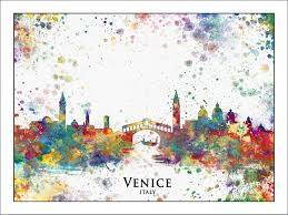 Map Paris France by Venice City Skyline Painted Maps Splatter Art Custom Maps