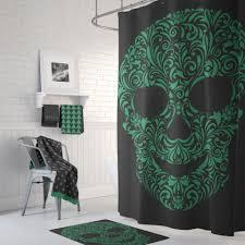 Sugar Skull Bathroom Green With Envy Sugar Skull Shower Curtain Green On Black