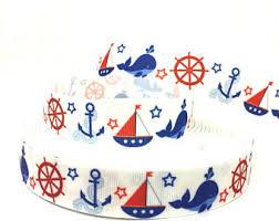 whale ribbon nautical ribbon whale sailboat ribbon 7 8 grosgrain