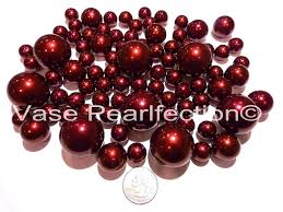 Vase With Pearls 80 Jumbo U0026 Assorted Sizes All Burgundy Pearls Red Wine Pearls Vase