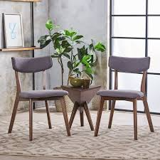 Noble House Dining Chairs Noble House Sadie Mid Century Dark Grey Fabric Walnut Dining