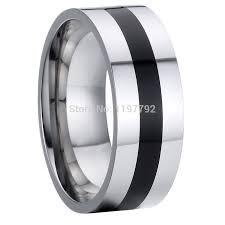 onyx wedding band jewelry titanium steel cool jewelry mens 8mm wedding