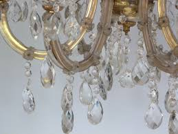Marie Chandelier Vintage 6 Arm Marie Therese With Large Clear Lead Drops The