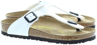 birkenstock gizeh toe post sandals in white patent