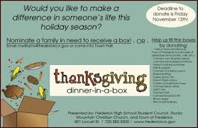 thanksgiving dinner in a box food drive frederick high school