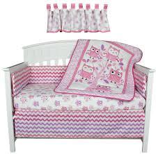 Zig Zag Crib Bedding Set Belle Bedding Sets Dancing Owls Zig Zag Pink And Purple 5 Piece