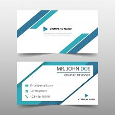 blue triangle corporate business card template vector free download