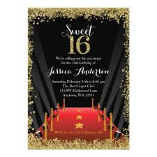 red carpet hollywood glitter sweet 16 birthday card zazzle com