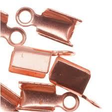 copper ribbon genuine copper foldover 3mm cord ends for ribbon cord ends crimp