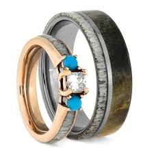 antler wedding ring deer antler wedding ring set turquoise engagement ring and wood