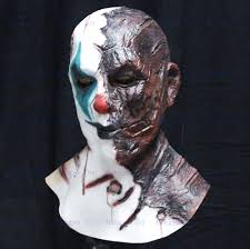 carnival halloween props latex costume scary clown mask for party
