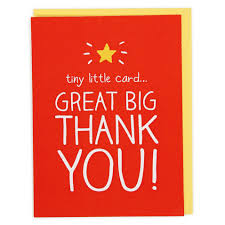 tiny card big thank you card paperchase