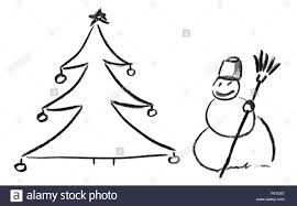 pencil sketch of christmas tree with ornaments and snowman stock