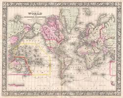 Rare Maps Collection Of The by File 1866 Mitchell Map Of The World On Mercator Projection