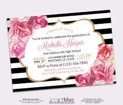 graduation invite graduation invitation black white gold watercolor roses blush