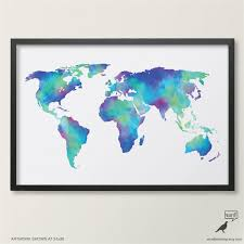 World Map Artwork by Watercolor Map Of The World In Navy Blue Indigo Teal Cobalt