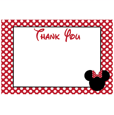 minnie mouse thank you cards minnie mouse printable thank you card 4x6