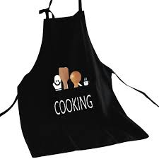 Men Cooking Aprons 1pc Black Printed Linen Apron With Pocket Women Men Cooking Aprons