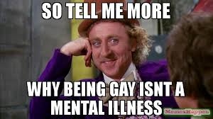 Willy Wonka Tell Me More Meme - so tell me more why being gay isnt a mental illness meme