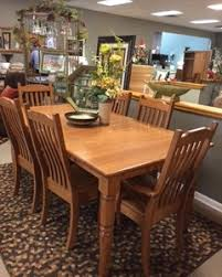 amish haus oak dining room set with 6 chairs and 2 leaves