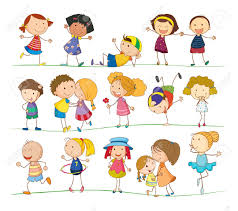 illustration of collection of simple kids royalty free cliparts