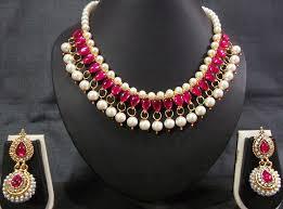 pink necklace set images Dark pink kundan pearl necklace set jewelry jpg