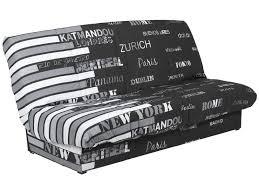 canap bz conforama banquette clic clac en tissu coloris noir blanc vente de