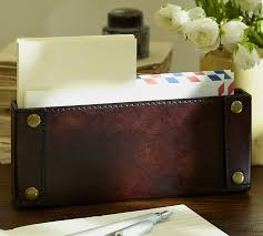 Pottery Barn Organization Saddle Chocolate Leather Desk Accessories Collection Pottery Barn