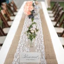 Burlap Lace Table Runner Elegant Jute Table Runner Vintage Burlap Lace Hessian Table Cloth