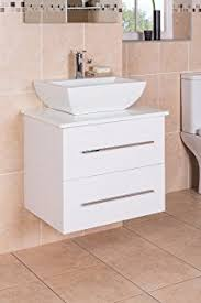 2 Basin Vanity Units 600mm Wall Hung White Gloss Finish Bathroom Basin Sink Cabinet