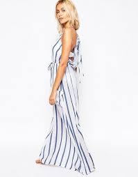 asos asos stripe linen pocket maxi beach dress