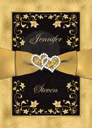 black and gold wedding invitations wedding invitation black gold floral scrolls printed ribbon