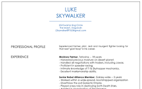 Insurgent Resume Resumes Of Luke Skywalker Doctor Who And Other Space Travelers