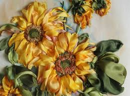 sunflower ribbon sunflowers in silk ribbon by chaschihina from moscow di