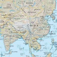 Asia Rivers Map by Natural Environment Landforms And Rivers China Mongolia
