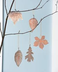 copper christmas ornaments lace leaf ornaments set of 5