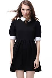 retro lapel neck black dress wednesday addams dress fall