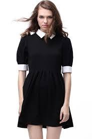 retro lapel neck black dress wednesday addams dress fall
