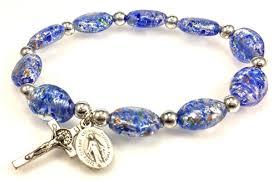 rosary bracelets blue murano glass stretch rosary bracelet