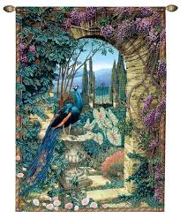 the secret garden peacock picture tapestry wall hanging h80