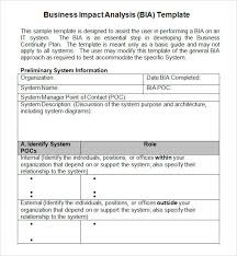 business impact analysis 4 documents in word pdf